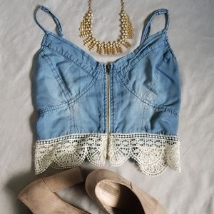 Clover and Scout Denim & Lace Front Zip Crop Top